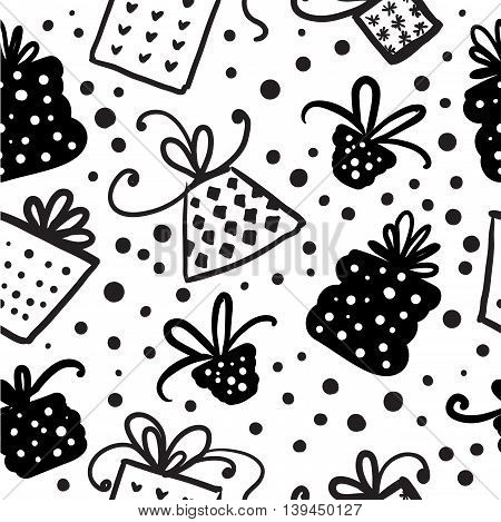 Cute christmas doodle seamless pattern. Vector illustration.
