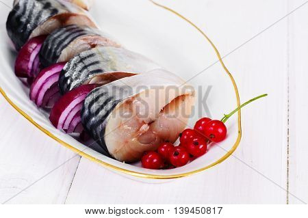 Salt Marinated Mackerel with Red Currant and Onion. Studio Photo