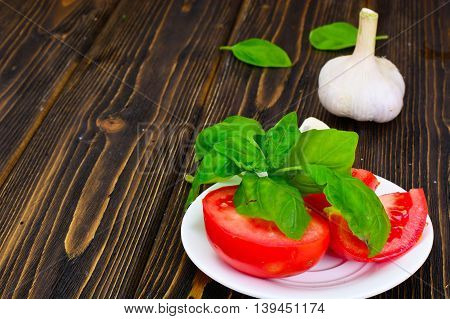 Tomato and Basil. National Italian Cuisine. Studio Photo