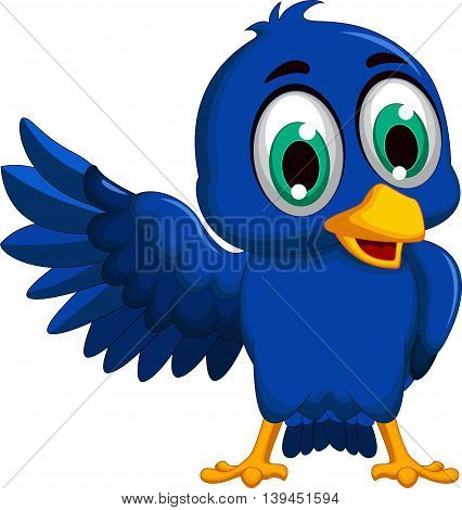 cute blue bird cartoon waving for you design