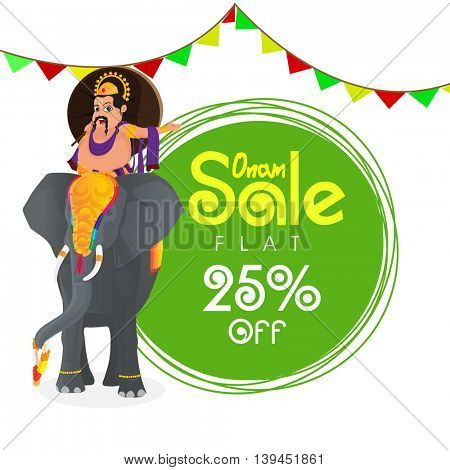 Onam Sale with Flat 25% Off, Creative Poster, Banner or Flyer design with illustration of King Mahabali riding on an elephant.