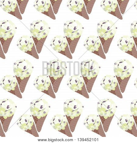 Vector Ice cream Vanilla waffle cones Isolated on white background
