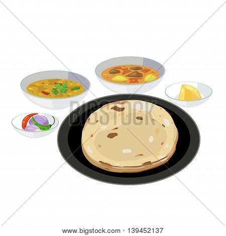 Roti bread vector in plate with curry and butter.