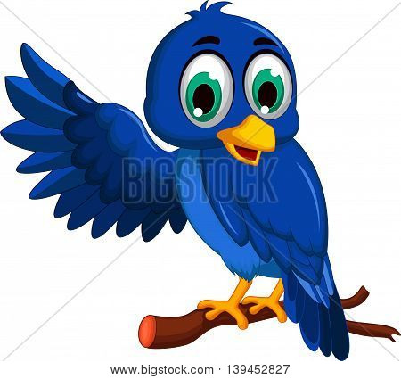 cute blue bird cartoon presenting on a branch