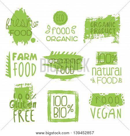 Farm Vegan Food Green Set Of Product Logo Design. Cool Flat Vector Design Template On White Background