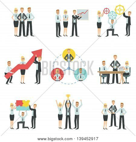 Business Team Working Together Achievement Process Infographic Simple Childish Flat Colorful Illustration On White Background