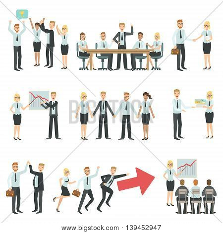 Teamwork In Business Work Process And Building Infographic.Simple Childish Flat Colorful Illustration On White Background