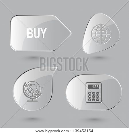 4 images: buy, globe and handset, calculator. Business set. Glass buttons on gray background. Vector icons.