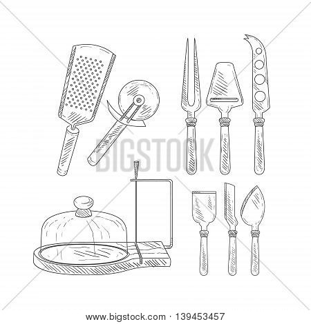 Utensils For Cheese Cutting Hand Drawn Realistic Detailed Sketch In Classy Simple Pencil Style On White Background