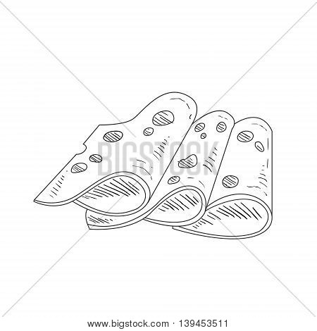 Three Slices Of Cheese With Holes Hand Drawn Realistic Detailed Sketch In Classy Simple Pencil Style On White Background