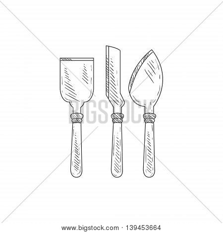 Three Special Knives For Cheese Hand Drawn Realistic Detailed Sketch In Classy Simple Pencil Style On White Background