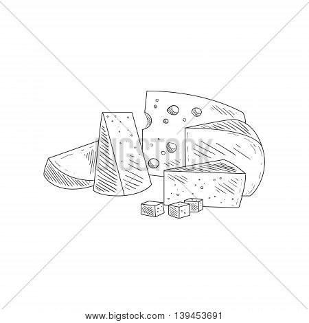 Cheese Assortment Plate Hand Drawn Realistic Detailed Sketch In Classy Simple Pencil Style On White Background