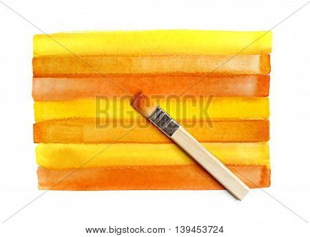 Color bright orange watercolor background and brush