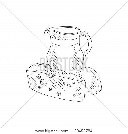 Cheese, Milk And Bread Hand Drawn Realistic Detailed Sketch In Classy Simple Pencil Style On White Background