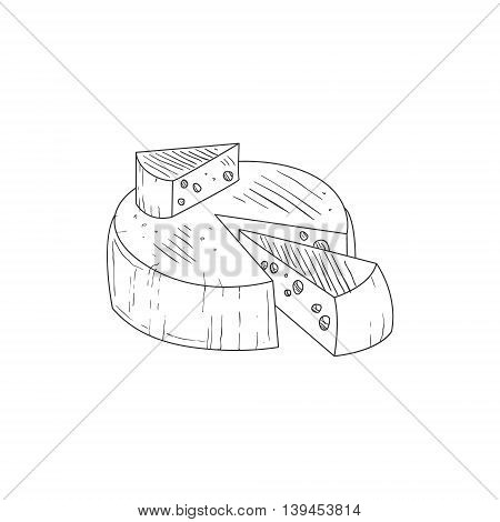 Round Cheese With A Segment Cut Out Hand Drawn Realistic Detailed Sketch In Classy Simple Pencil Style On White Background
