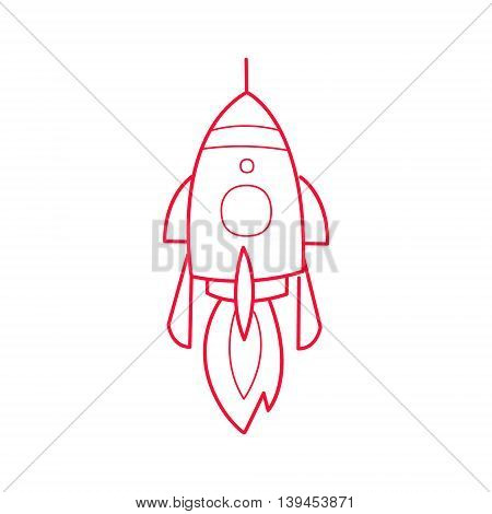 Rocket Ship Simple Contour Drawing. Linear Bright Color Childish Vector Icon On White Background