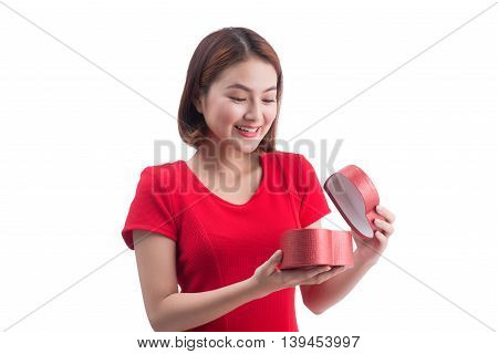 Holidays love and happiness concept. Beautiful asian girl with gift box
