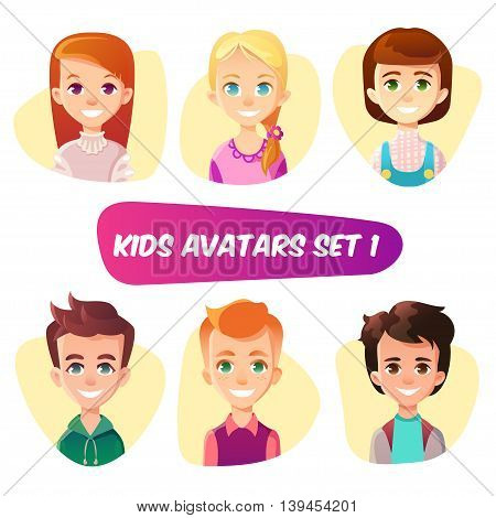 Cartoon kids abatars set. Three girls - blonde redhead and brunette. Two brown hair boys and one ginger. Children about 10 years old.