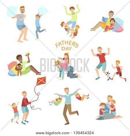 Fathers Day Set Of Dads Playing With Kids Simple Childish Flat Colorful Illustrations On White Background