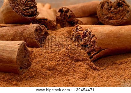 aromatic cinnamon sticks and powder for baking and cooking