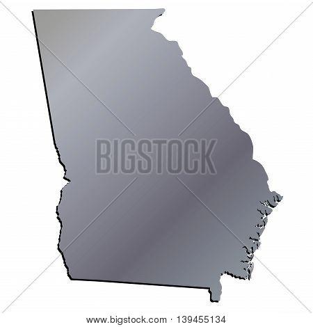 3D Georgia (USA) Aluminium outline map with shadow