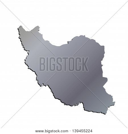 3D Iran Aluminium outline map with shadow
