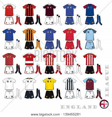 Illustration of a 20 English Football Uniforms