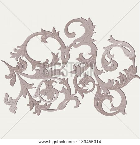 Acanthus leaf ornament element . Vector illustration