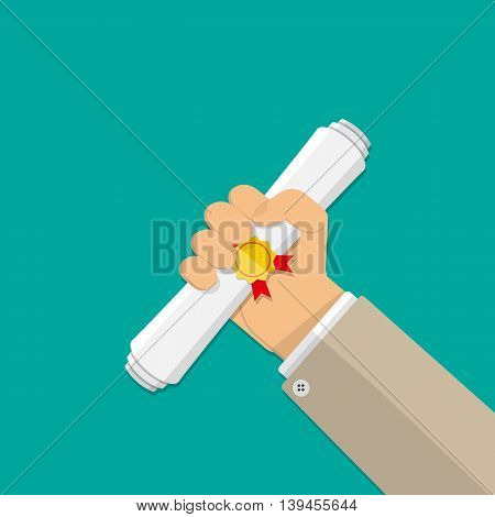 hand and white folded certificate with stamp and ribbon. Business award. vector illustration in flat style on green background