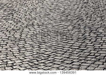 old cobble stone pattern at an old vintage street