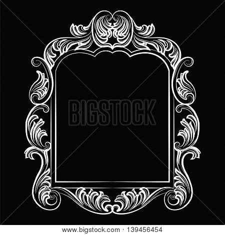 Baroque Rococo Mirror frame decor. Vector Luxury Rich carved Frame. Victorian Style frame