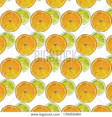 Orange and Lime fresh slices Vector pattern. Vector summer fruits slices pattern background