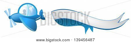 Illustration of small blue airplane with blank ribbon