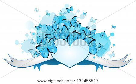 Illustration of light big heart with ribbon decorated with blue butterflies