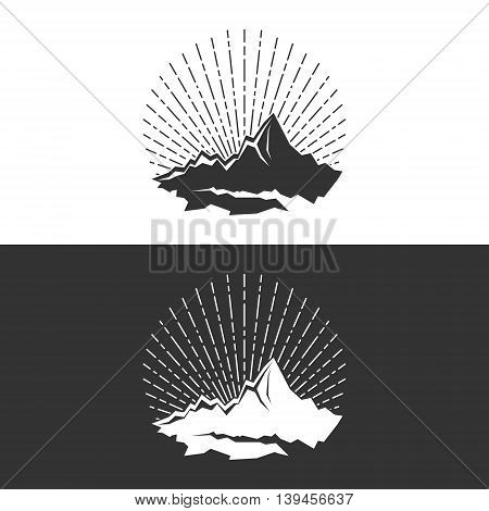 Silhouette of the Mountains and Sunburst on White and Gray Background, Logo Design Element ,Vector Illustration