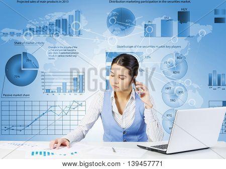 Preparing average report .  Mixed media