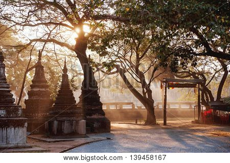 Early morning in Angkor Wat. Architecture background with stone carved towers. UNESCO World Heritage Site. Siem Reap Cambodia.
