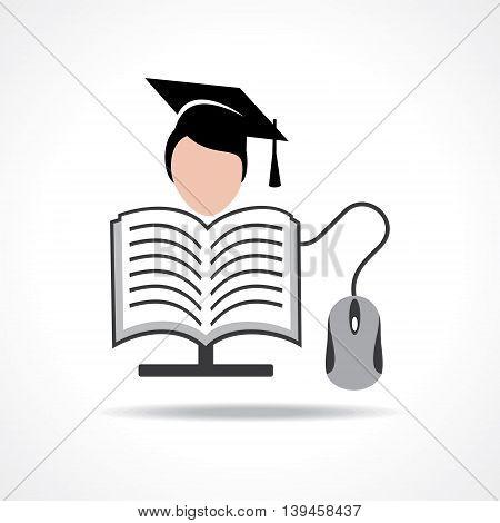 Computer education graduate student concept stock vector