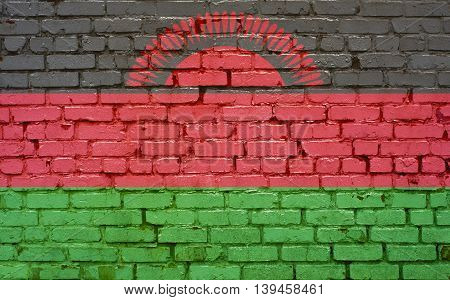 Flag of Madagascar painted on brick wall background texture
