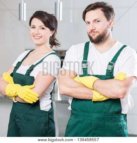 Smiling Girl And Man At Work