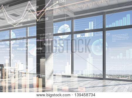 White office interior .  Mixed media