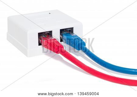 Ethernet cables connected to white socket. Blue and red cables.
