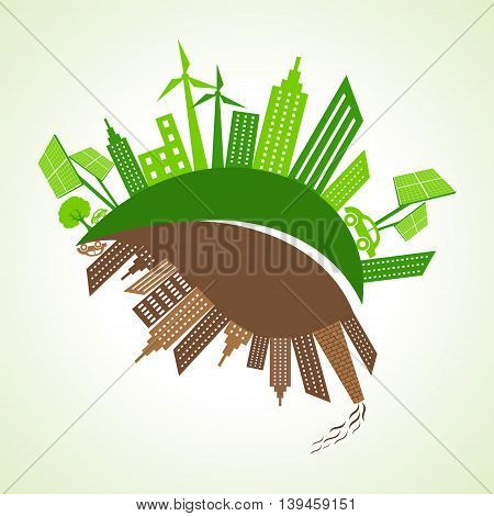 Eco and polluted city concept with leaf stock vector