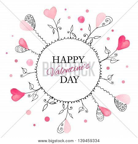 Postcard for Valentine s day with hand drawn watercolor hearts. Vector illustration.