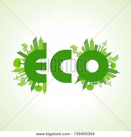 Eco city concept with eco text stock vector
