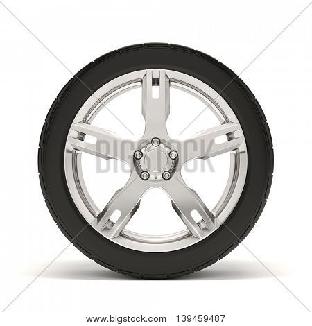 3d tire and alloy wheel on white background