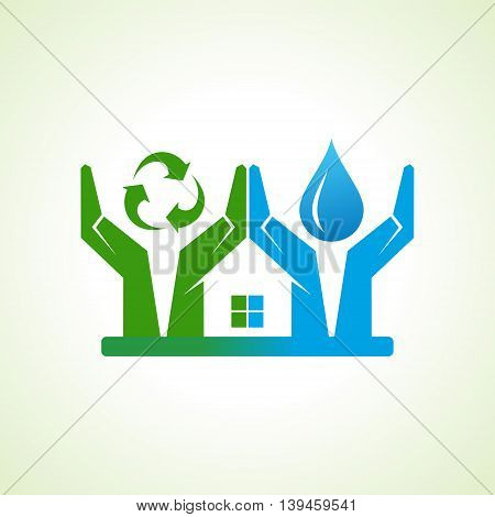 hand with water drop and recycle icon make a home stock vector