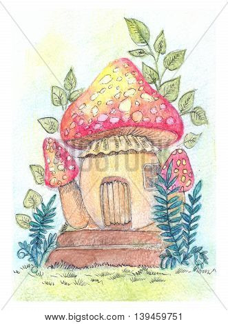 Fantastic illustration with house-mushroom illustration in сolour pencils for children book game and other goods.