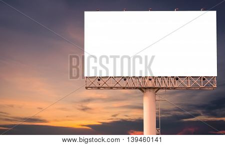 Blank Billboard Ready For New Advertisement With Sunset Background