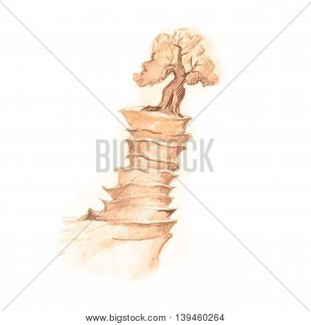 Fantastic mountain drawing with fantasy tree in sepia pensil isolated on white background.